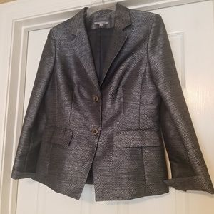 Anne Klein Silver and Black Chevron jacket 10